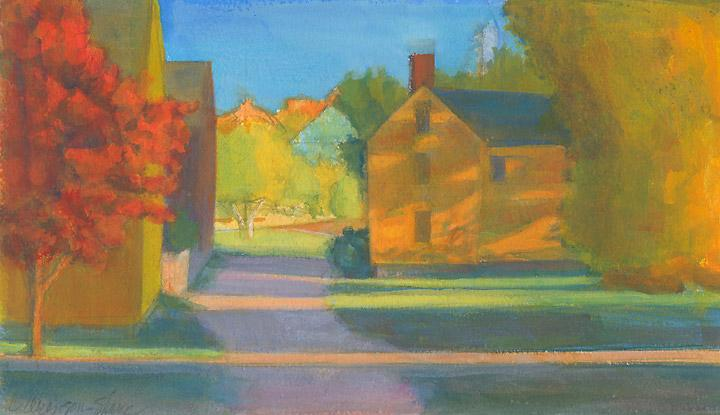 """Lowd House Shadows, Fall'' (gouache on paper), by Carol Aronson-Shore, at Alpers Fine Art, Andover, Mass."