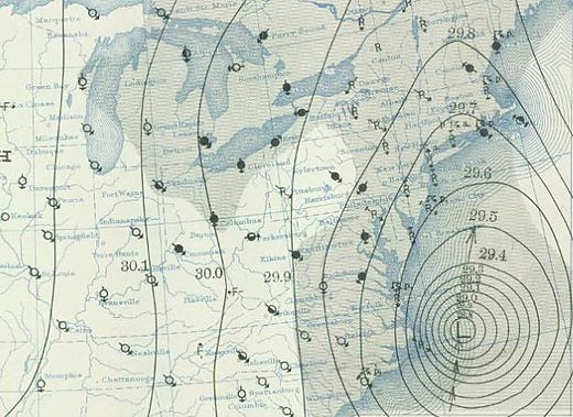 Weather map on the morning of Sept. 21, 1938. The hurricane, then just off Cape Hatteras, roared into Long island and southern New England that afternoon.