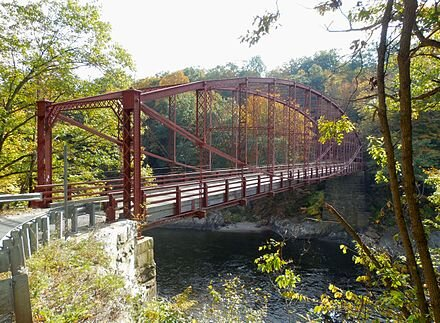 Bardwell's Ferry Bridge   , built in 1882, is an historic lenticular    truss bridge    over the    Deerfield River    between Conway and    Shelburne   . It's listed on the    National Register of Historic Places   .