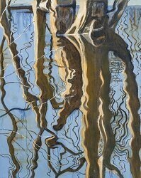 """""""Large Tree Reflection """" (oil on canvas), by Gillian Frazier, in her show """"Nature Reflected,'' at the Groton (Mass.) Public Library, through Nov. 24    She says: """"Using nature as the springboard, I love to use the abstract nature of 'water reflections' as a design element and subject matter. The paintings are from a series I have been working on for the past 4-5 years. I live on a river in Lowell and have a view of water from my home….    """"I like to incorporate images of water lilies, trees and other elements of nature that can be reflected in the water. I typically work in oils and enjoy the luminosity of color and the man y  possible application techniques .''"""