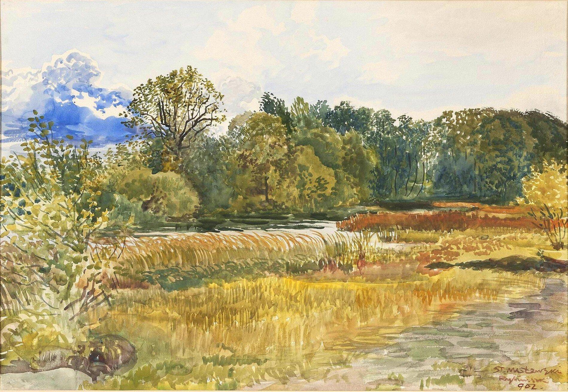 Watercolor of autumn scene by    Stanisław Masłowski   , done in 1902
