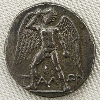 Silver    didrachma    from    Crete    depicting    Talos   , an ancient mythical    automaton    with artificial intelligence.