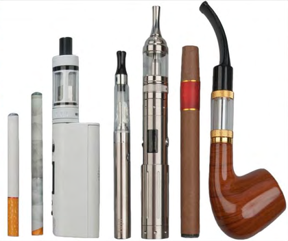 Various e-smoking devices, including a disposable e-cigarette, a rechargeable e-cigarette, a medium-size tank device, large-size tank devices, an e-cigar and an e-pipe.    — Wikipedia image
