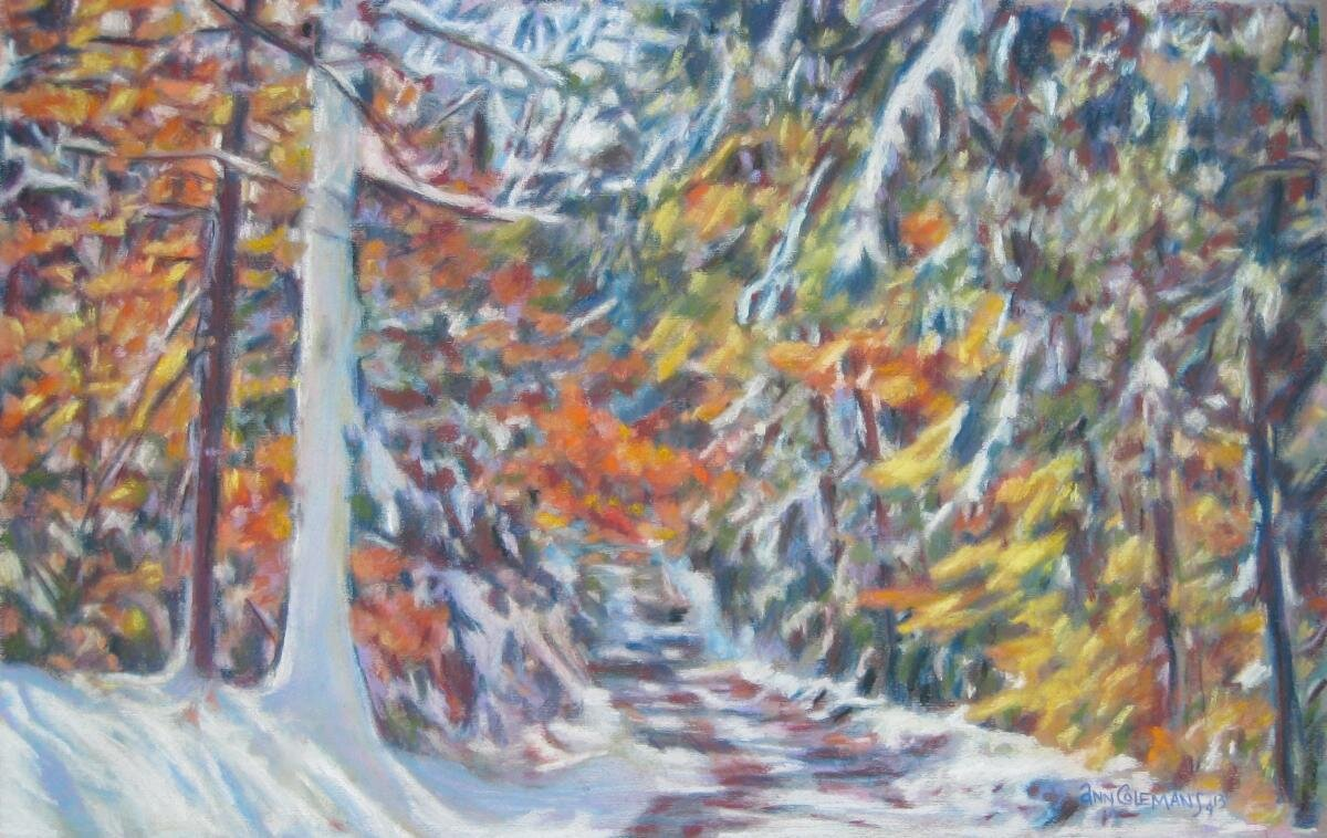 """First Snow II"" (pastel), by Ann Coleman, in the Ann Coleman Gallery,  Whitingham, Vt."