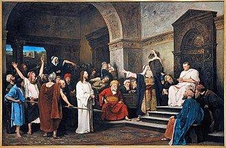 """Christ before Pilate ,' ' by    Mihály Munkácsy   , 1881"
