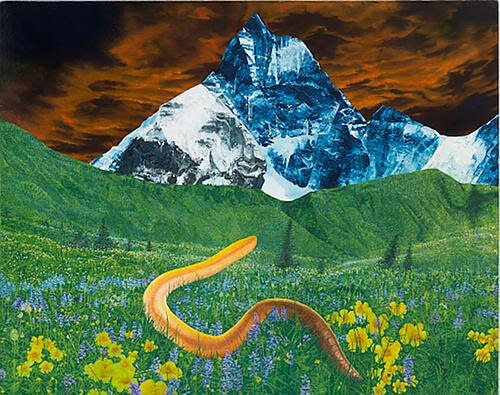 """Worm Contemplates Mountain"" (oil on canvas), by Rina Goldfield, in her show ""Mythologies,'' at Hampden Gallery, Amherst, Mass., through Nov. 6    Her show has paintings of ""totems and monuments: huge mountains, blocky buildings, ancient columns with small onlookers and co-habitors offering a sweep of hugeness, but also of wonkiness and humor.''"