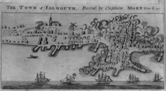 1782 engraving showing the British burning of Falmouth, Maine, in October 1775.