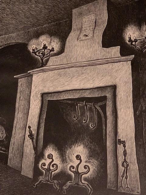 """""""Lantern and Fireplace'' (wood engraving), by Wanda Gag (1893-1946), at the Art Complex Museum, Duxbury, Mass. The museum says::    """"Gág became a highly praised printmaker in New York in the 1920s and 1930s, and was recognized for her skill in depicting scenes of everyday life. She was born in New Ulm, Minn.,, and grew up with the customs and fairy tales of her parents' native Bohemia. She was widely known for her children's books, including  Millions of Cats,  and her illustrated translations of  Grimm's Fairy Tales  and  Snow White and the Seven Dwarfs."""