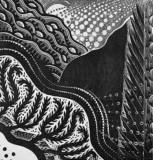 """""""Meteor Shower'' (linoleum cut/collage), in Julia Talcott's show """"On the Night You Were Born,'' an exhibition of relief prints exploring landscape and memory, at Bromfield Gallery, Boston, through Oct. 27.    When we think of linoleum, we think of the '50s…."""