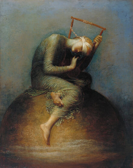 """""""H   ope  ,  which lay at the bottom of the box, remained.'' Allegorical painting by    George Frederic Watts   , 1886"""