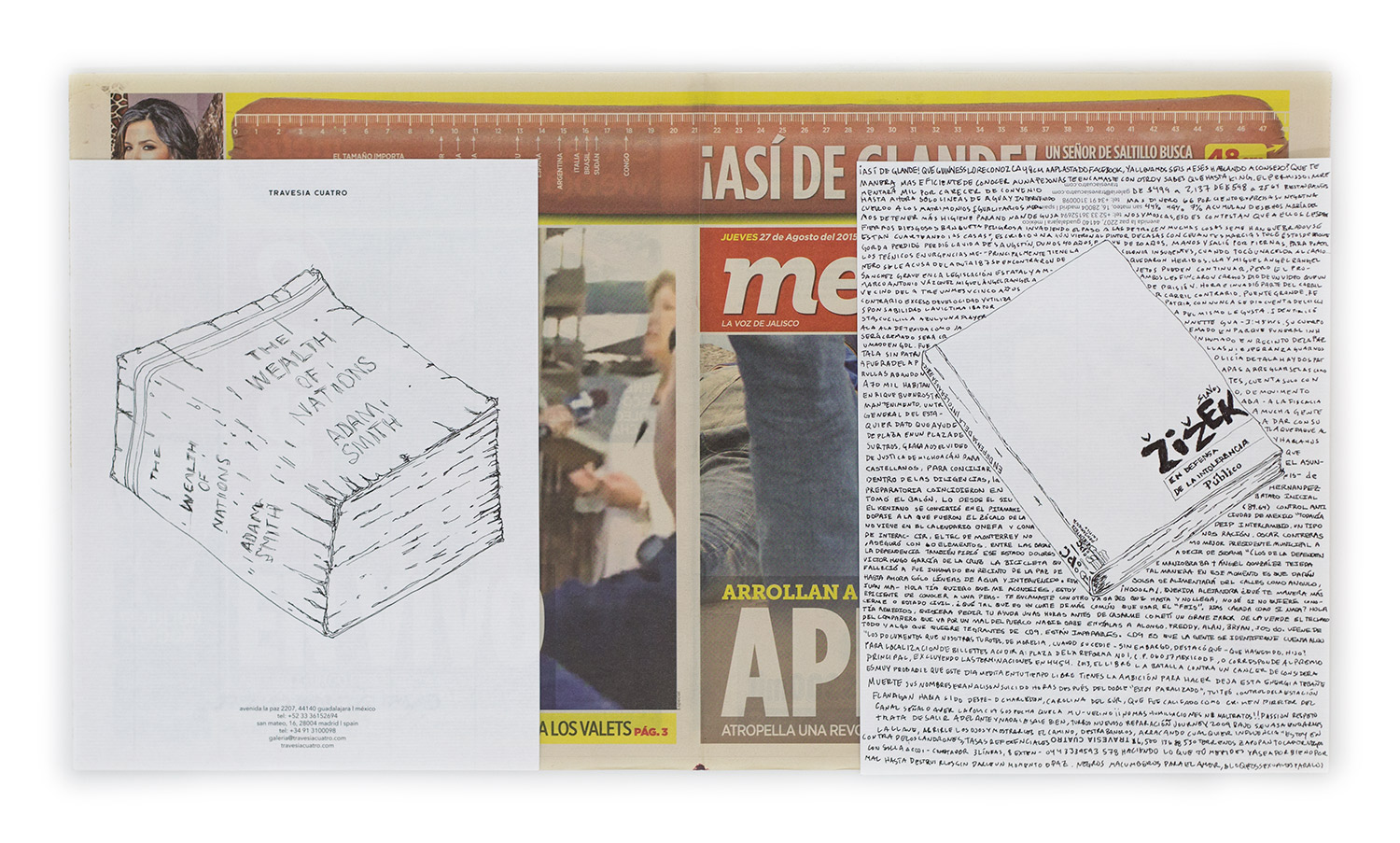 Political Drawing (Metro: Guadalajara, Mexico, Jueves 27 Agosto 2015)    2015   Ink on paper, daily newspaper  12 1/2 x 22 3/4 inches   Drawings, 2014–