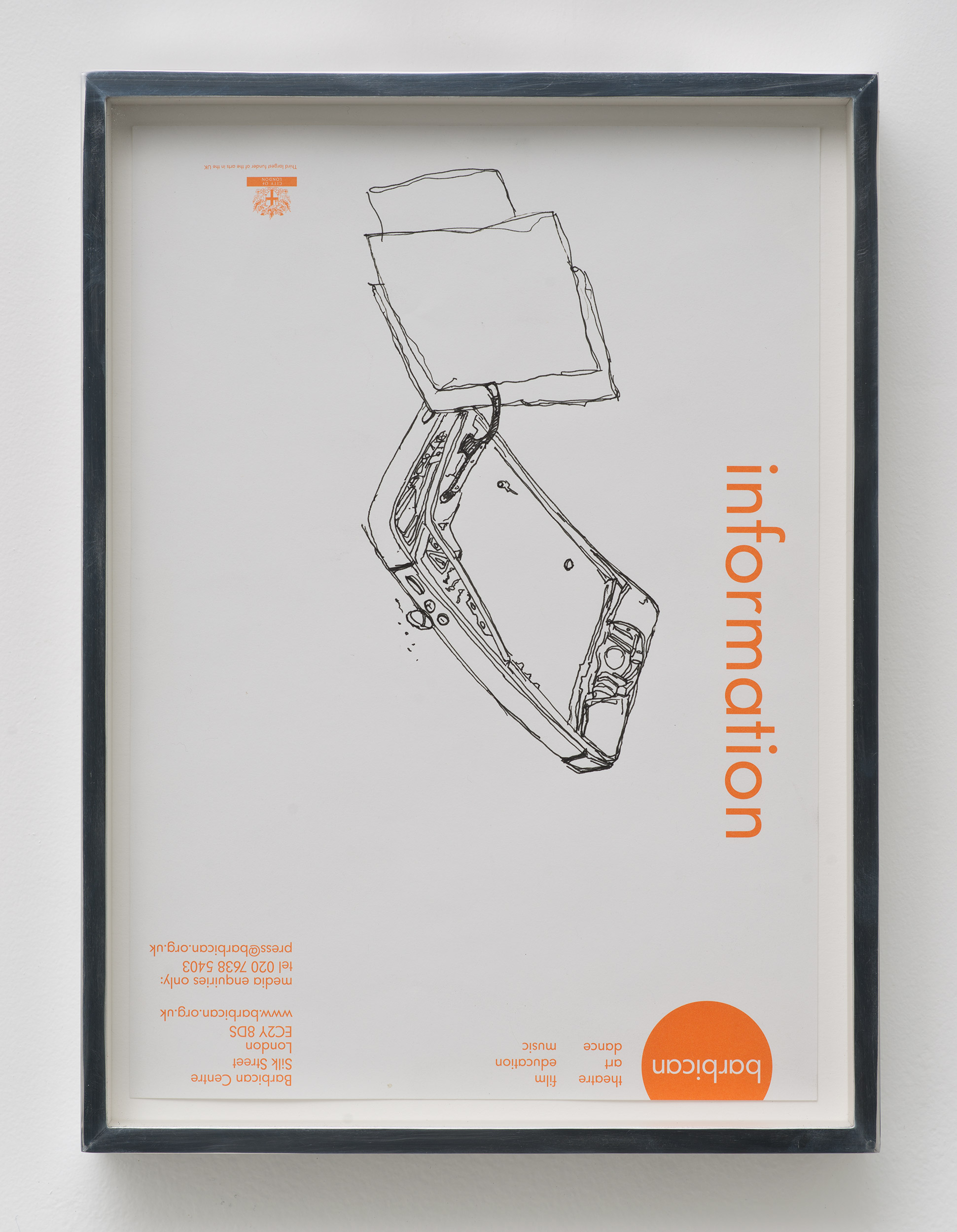 iPhone 5 A1429: Barbican Centre, London, United Kingdom, October 6, 2014    2015   Ink on letterhead  12 7/8 x  9 1/2 inches   Drawings, 2014–