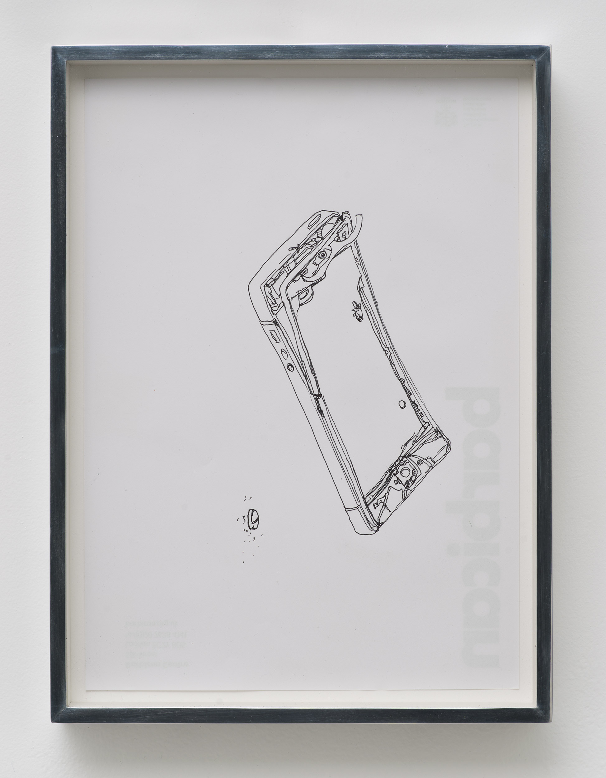 iPhone 5 A1429/Adderall, Amphetamine and Dextroamphetamine 10 mg, cor 132, Round, Multi-Segmented, Core Pharmaceuticals, Inc.: Barbican Centre, London, United Kingdom, October 10, 2014    2015   Ink on letterhead  12 7/8 x 9 1/2 inches   Drawings, 2014–