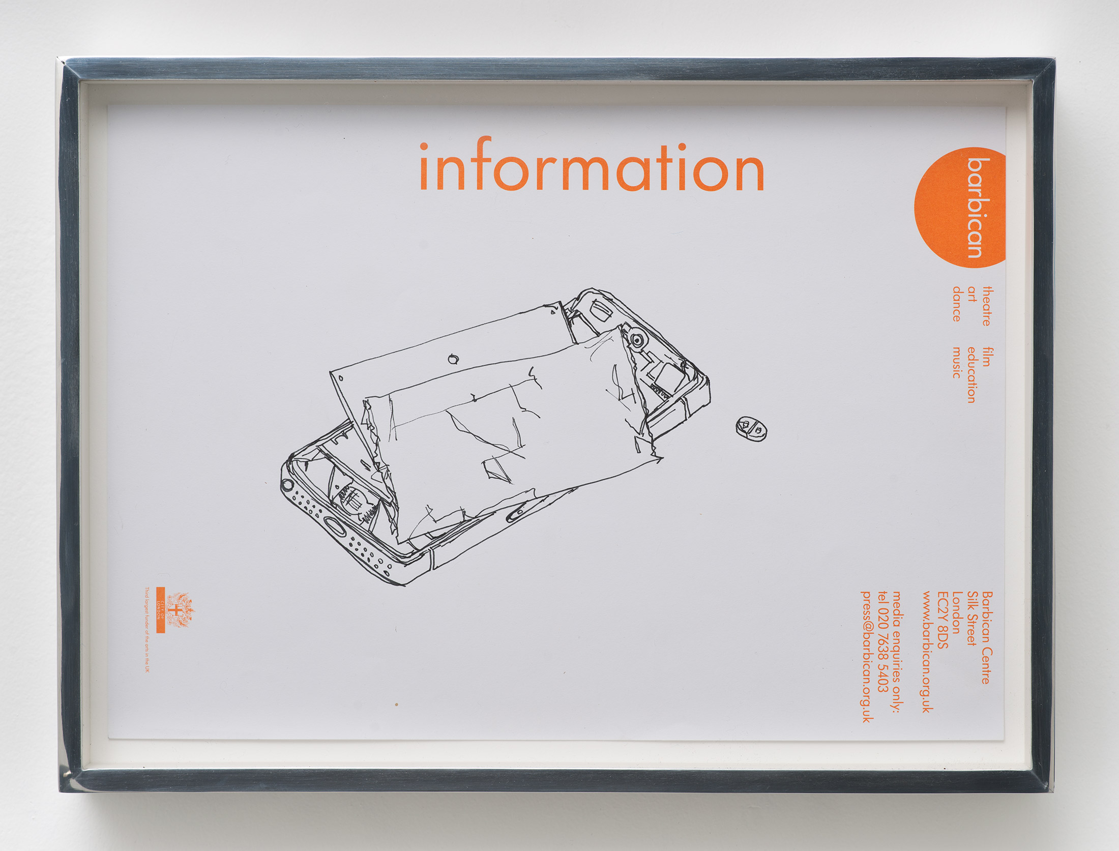 iPhone 5 A1429/Adderall, Amphetamine and Dextroamphetamine 10 mg, cor 132, Round, Multi-Segmented, Core Pharmaceuticals, Inc.: Barbican Centre, London, United Kingdom, October 4, 2014    2015   Ink on letterhead  9 1/2 x 12 7/8 inches   Drawings, 2014–