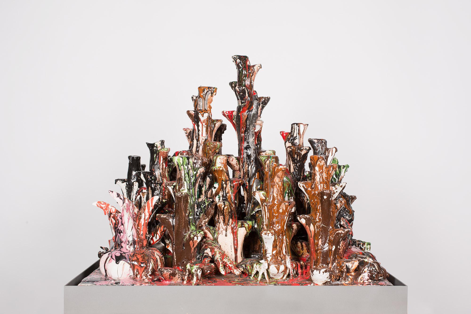 Lo Desconocido (February 17–March 1, 2015: Cerámica Suro Contemporánea, Guadalajara, Jalisco, Mexico)    2015   Ceramica Suro slip cast remnants, glaze, and firing plate  64 x 42 x 26 1/2 inches   Ceramics, 2013–