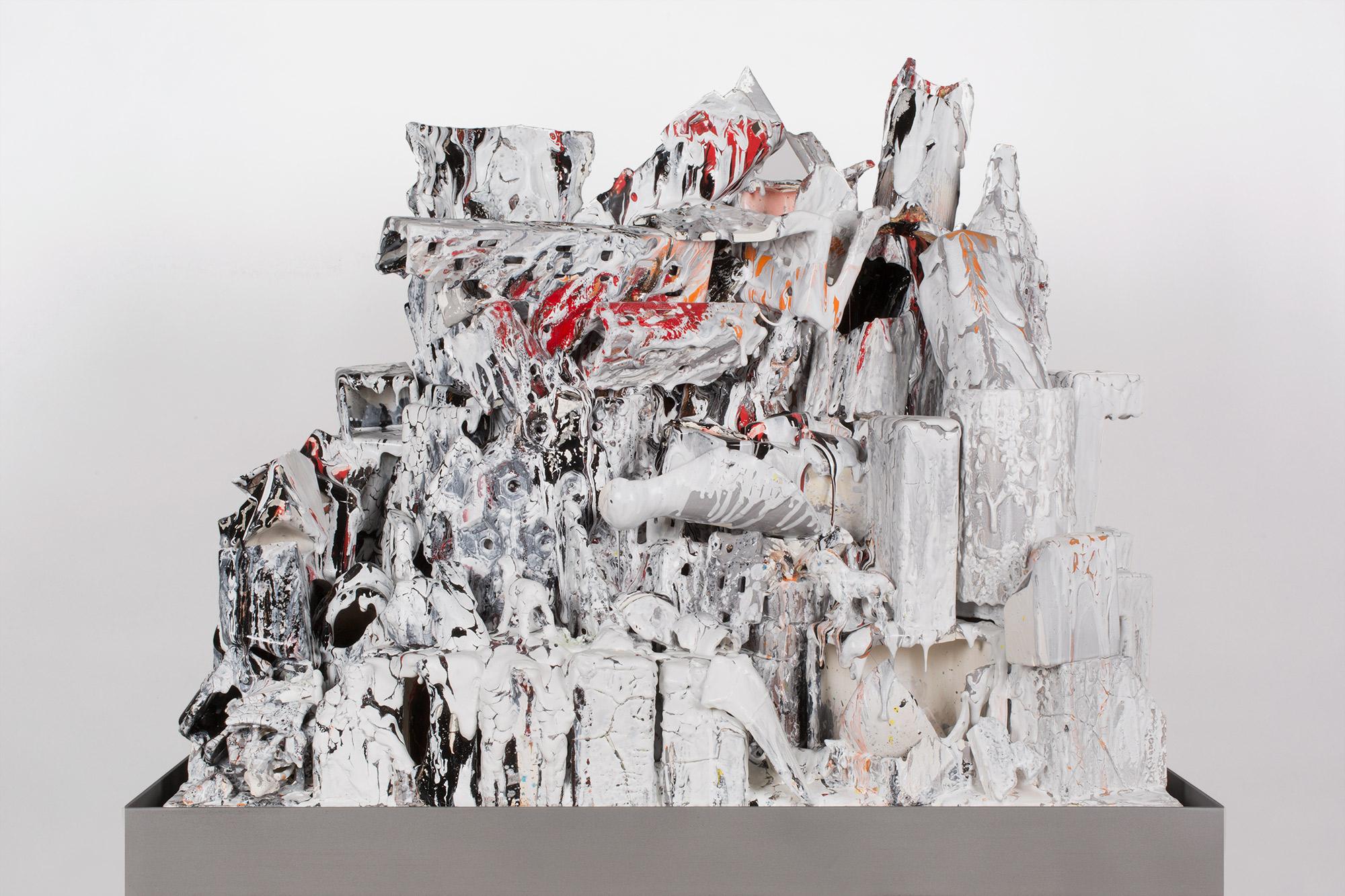 La Ciudad en Llamas (February 17–March 1, 2015: Cerámica Suro Contemporánea, Guadalajara, Jalisco, Mexico)    2015   Ceramica Suro slip cast remnants, glaze, and firing plate  54 x 42 x 26 1/2 inches   Ceramics, 2013–