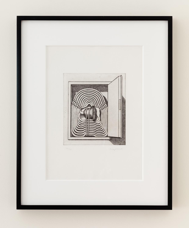 Konrad Klapheck   Répression   1984  Gravure  15 3/16 x 10 7/16 inches