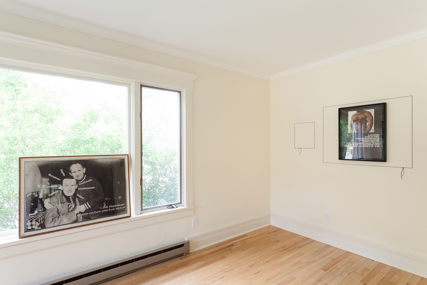 Organized project in collaboration with Kelley Walker, under the auspices of  Again, Once Again,Many Times More —curated by Bob Nickas, Martos Gallery, East Marion, NY, 2014.    Martin Kippenberger, Stephen Prina, and Wade Guyton