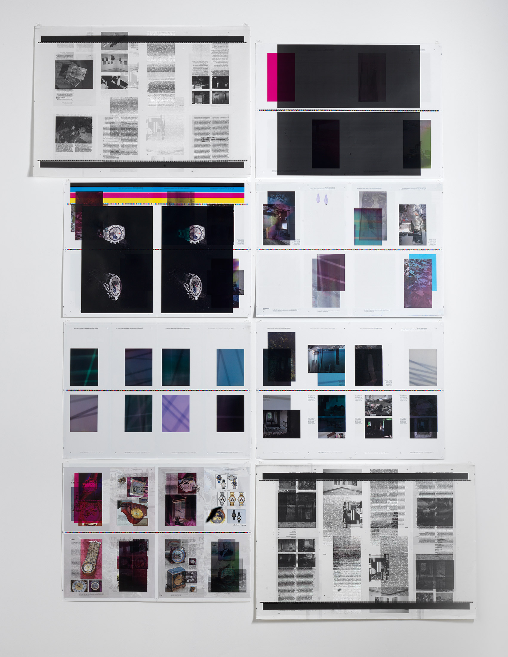 Make-Ready 1: Uncut Signatures [Walead Beshty: Selected Correspondences 2001-2010, Bologna: Damiani Editore, 2010, Grafiche Damiani, Bologna, Italy, July 4–6, 2010]    2010   Four-color offset on coated and uncoated paper  Dimensions variable   Make Readies, 2010–
