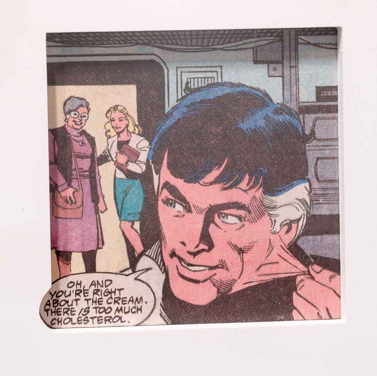 Detail of  Unmaskings (1962–2001: Jimmy Olsen 59; Super Girl and Wonder Woman 63; Jimmy Olsen 79; Detective Comics 335; Bob Hope 93; BlackHawk 210B; Action Comics 349; Jimmy Olsen 111; Green Lantern 69; Action Comics 379; Detective Comics 407; Adventure Comics 428; Adventure Comics 429; Black Magic 1A; Black Magic 1B; House of Mystery 237; Teen Titans Annual; Batman Family Giant 9; Iron Man 103; Batman 321; Brave and the Bold 176; Detective Comics 507A; Detective Comics 507B; Hawkeye 1; AlphaFlight 12B; Batman 318; Captain America 311; Captain America 320; Boris the Bear 11; Excalibur 1; Excalibur 2; Batman 458; The Mask 1; Human Target 1; Captain Planet 8; Batman 484; Blood and Shadows; DareDevil 358; Gen13 53; DareDevil 241; Betty and Veronica 117)    2012   Color offset periodicals, Cintra, Plexiglas, mat board  14 1/4 x 18 inches each, 41 parts   Unmaskings, 2012–2013