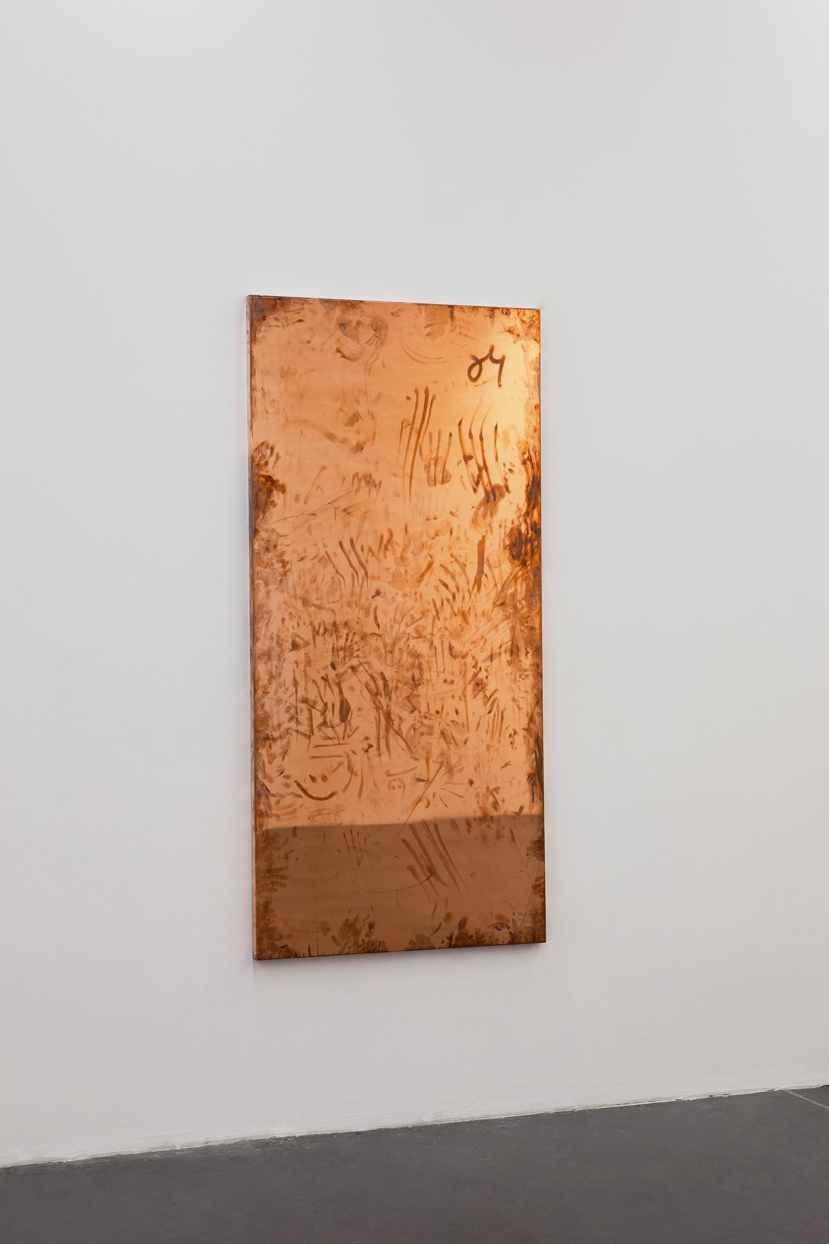 Copper Surrogates (September 20-23/November 21–23, 2011, Beijing, China, June 13–18/November 21, 2012Los Angeles, California, November 29–December 3, 2012, Miami Beach, Florida)    2011   Polished copper  74 3/4 x 35 1/2 x 1 1/2 inches   Surrogates (Full Sheet, Art Handling), 2011–