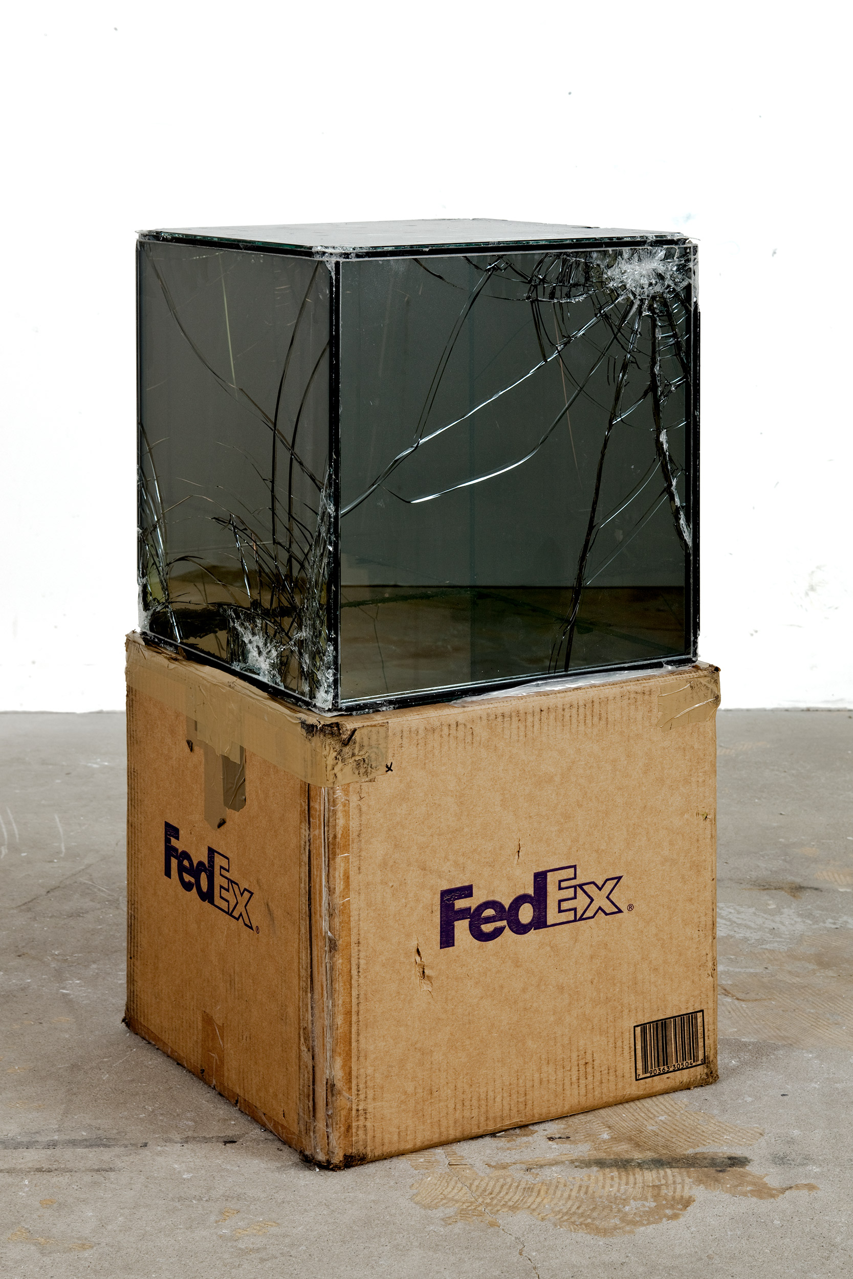 FedEx® Kraft Box  © 2005 FEDEX 330504 10/05 SSCC, Priority Overnight, Los Angeles–Miami trk#865344981314, October 29–30, 2008, Priority Overnight, Miami–Los Angeles trk#861049125089, November 17–18, 2008, Priority Overnight, Los Angeles-Miami Beach trk#860147611241, December 01–02, 2008, Priority Overnight, Miami–Los Angeles trk#867525901310, December 08–09, 2008, Priority Overnight, Los Angeles–Ann Arbor trk#867525901228, March 09–10, 2009, Standard Overnight, Ann Arbor–Los Angeles trk#868274625705, July 09–10, 2009, Standard Overnight, Los Angeles–San Francisco trk#870069766460, August 27–28, 2009, Standard Overnight, San Francisco–Los Angeles trk#870342520112, November 12–13, 2009    2008–   Laminated Mirropane, FedEx shipping box, accrued FedEx shipping and tracking labels, silicone, metal, tape  16 x 16 x 16 inches   FedEx Glass Works, 2007–