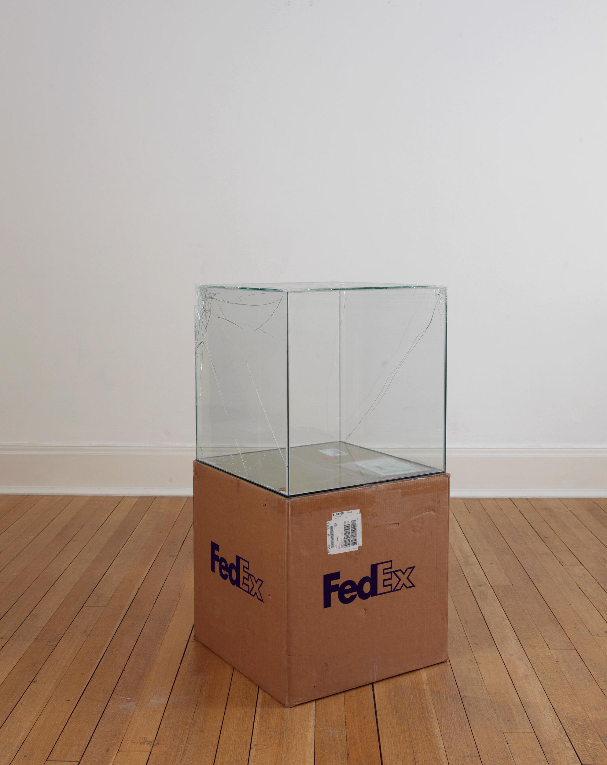 FedEx® Large Kraft Box  © 2008 FEDEX 330510 REV 6/08 GP, International Priority, Los Angeles–London trk#868587728050, October 02–05, 2009    2009–   Laminated glass, FedEx shipping box, accrued FedEx shipping and tracking labels, silicone, metal, tape  24 x 24 x 24 inches   FedEx Glass Works, 2007–