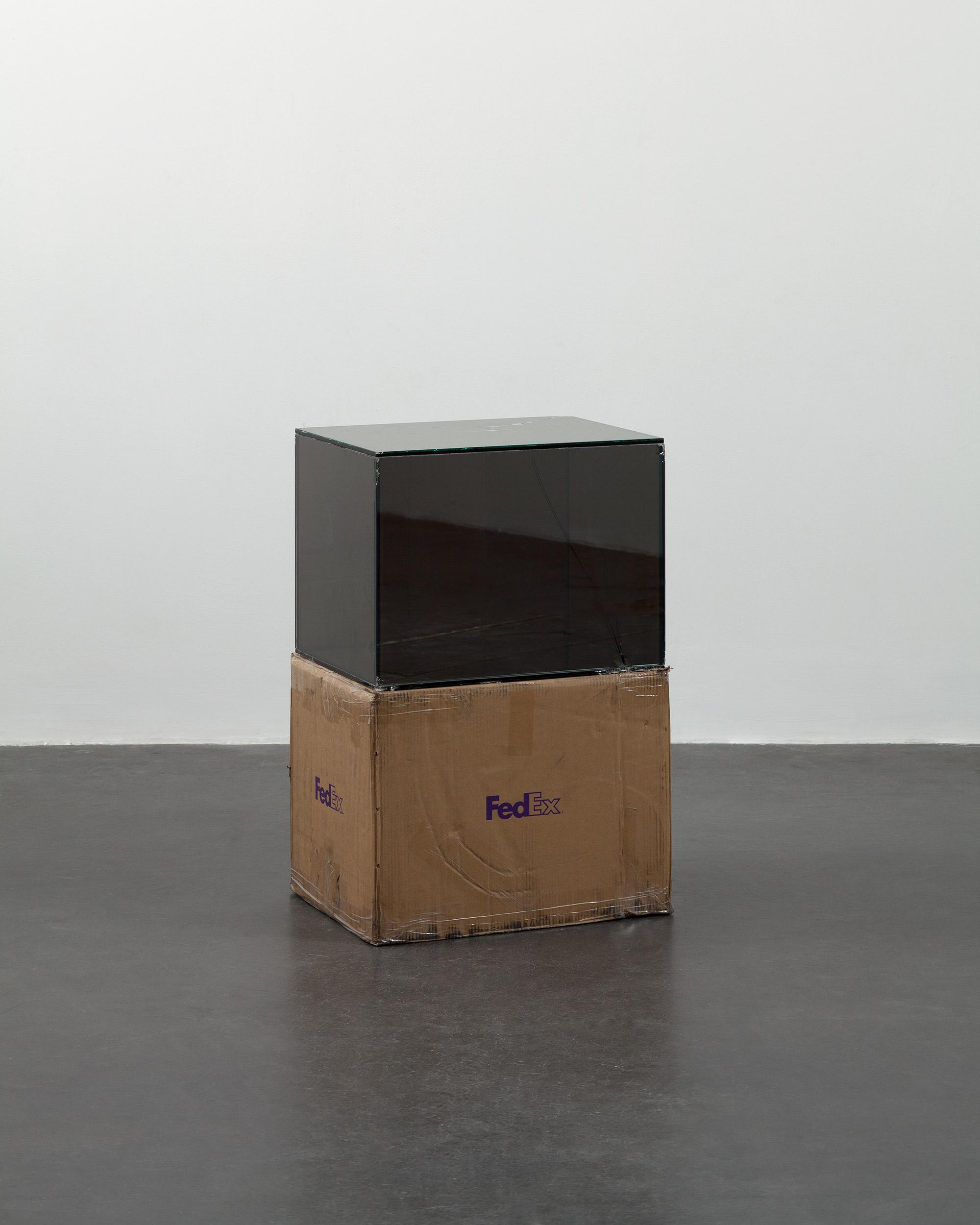 FedEx® Large Kraft Box  © 2004 FEDEX 155143 REV 10/04 SSCC, International Priority, Los Angeles–Beijing trk#875468976030, September 9–14, 2011, International Priority, Bejing–Paris trk#874594463967, March 13–15, 2012    2011–   Laminated Mirropane, FedEx shipping box, accrued FedEx shipping and tracking labels, silicone, metal, tape  23 5/8 x 18 1/2 x 18 1/2 inches   FedEx Glass Works, 2007–