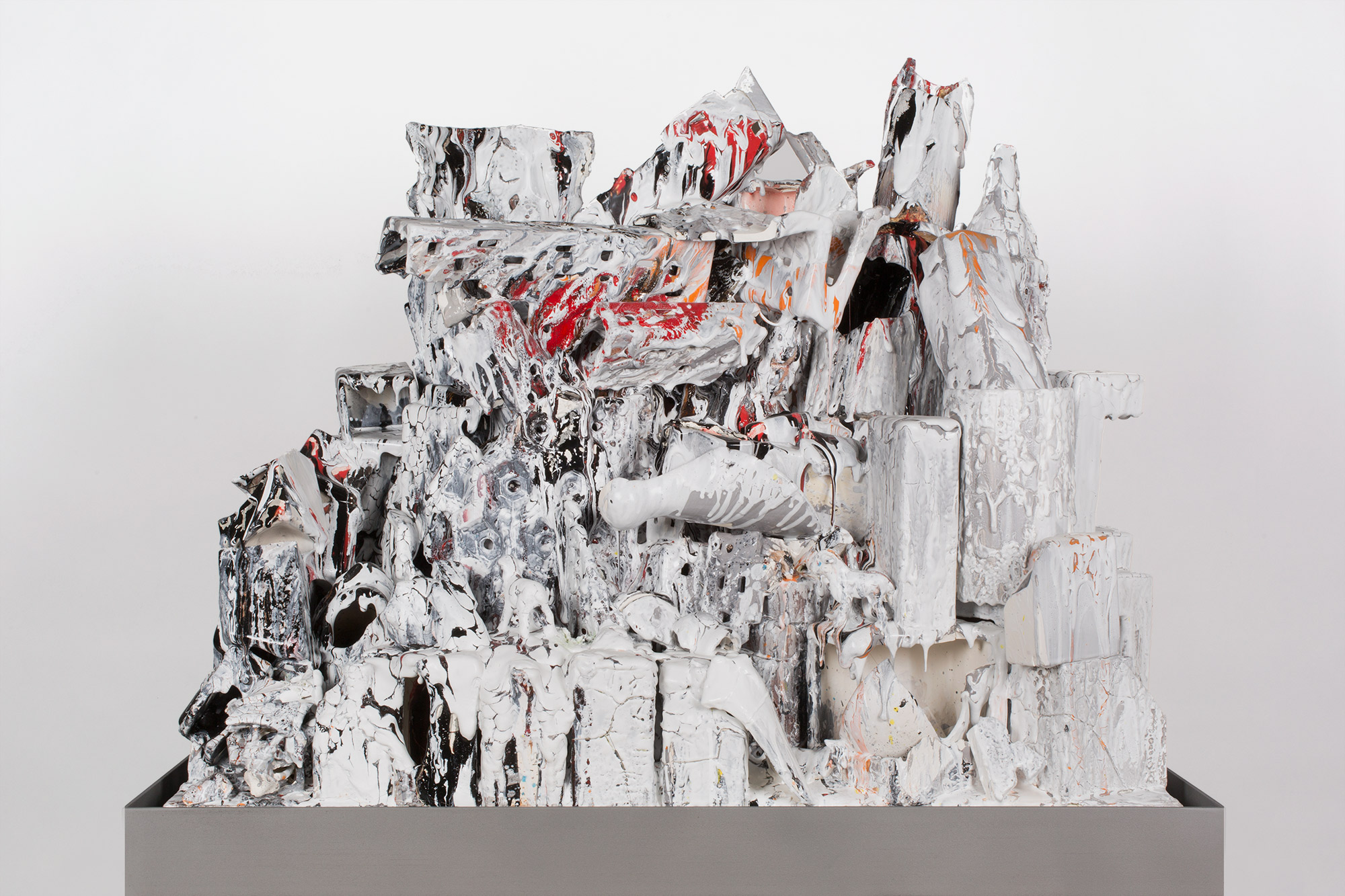 La Ciudad en Llamas (February 17–March 1, 2015: Cerámica Suro Contemporánea, Guadalajara, Jalisco, Mexico)    2015   Ceramica Suro slip cast remnants, glaze, and firing plate  54 x 42 x 26 1/2 inches   All the World's Futures, 2015