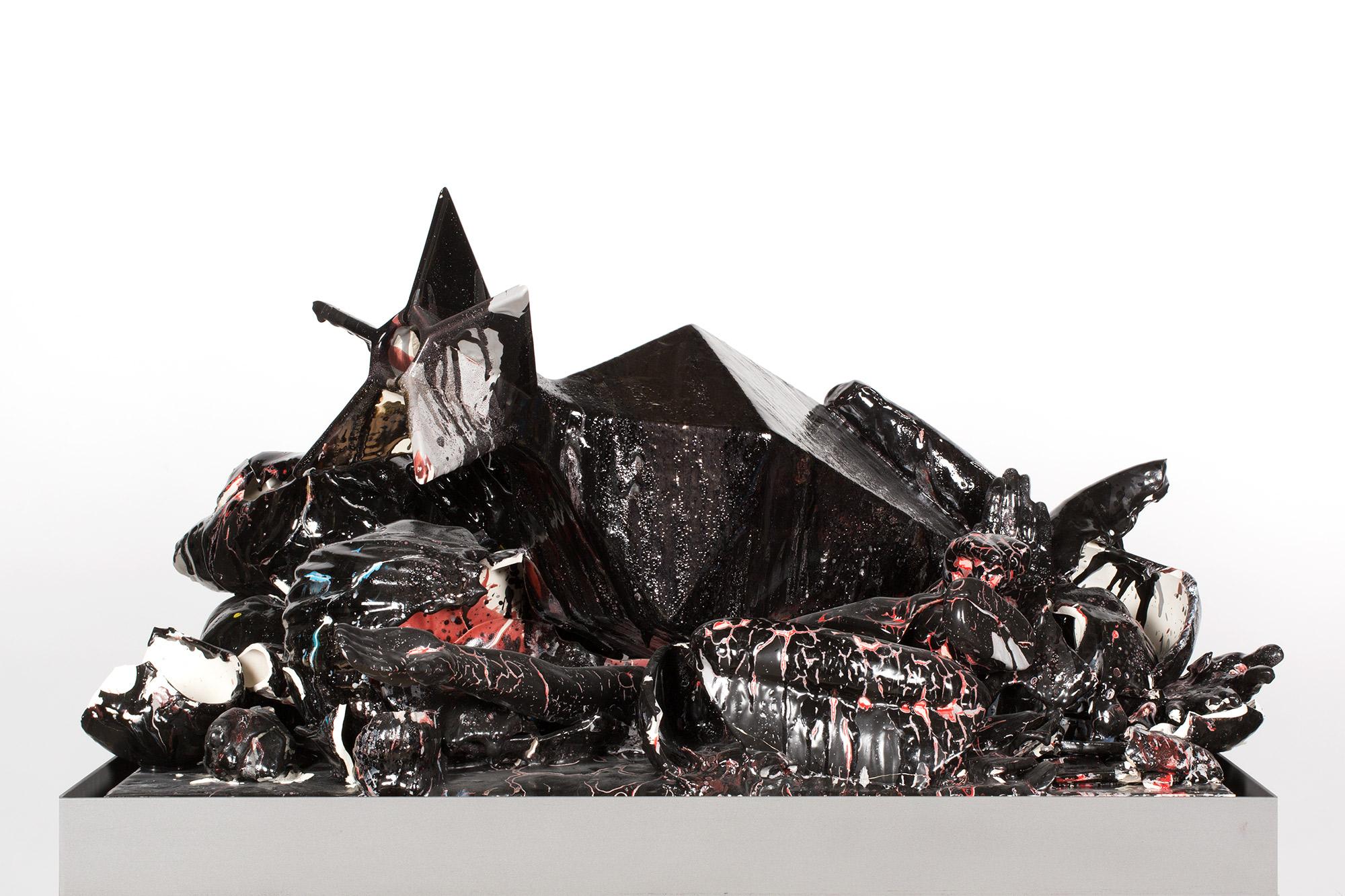 La Religiosidad Americana (February 17–March 1, 2015: Cerámica Suro Contemporánea, Guadalajara, Jalisco, Mexico)    2015   Ceramica Suro slip cast remnants, glaze, and firing plate  55 1/2 x 42 x 26 1/2 inches   All the World's Futures, 2015