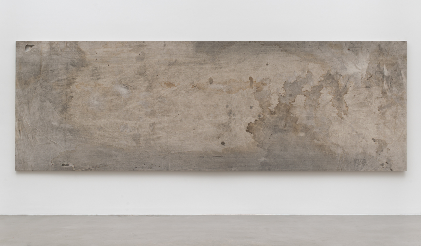 Shroud Painting (ExxonMobil Mobil 1 0W-40 Synthetic Motor Oil: August 14, 2011–August 13, 2012, Los Angeles, California, 55914)    2015   Oil on canvas  66 x 200 inches   Walid AlBeshti, 2015
