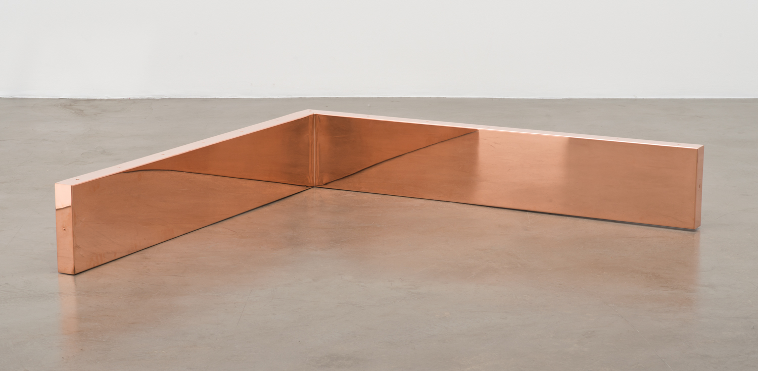 """Copper Surrogate (60"""" x 120"""" 48 ounce C11000 Copper Alloy, 90° Bend, 60"""" Bisection/Section 3: October 20/27, 2014, Paris, France; November 25/January 26–27, 2014, London, United Kingdom)    2014–   Polished copper  11 x 60 x 60 inches   Marginalia, 2014"""