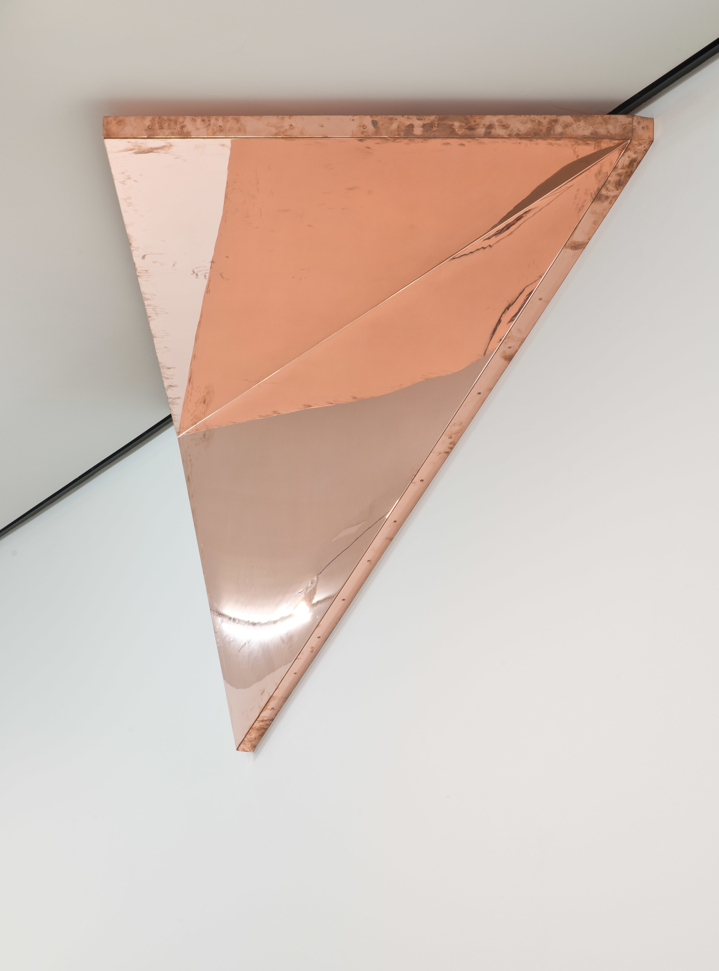 "Copper Surrogate (60"" x 120"" 48 ounce C11000 Copper Alloy, 90º Bend, 127 1/2"" 30º Diagonal / 150º Antidiagonal Bisection: February 20/April 5, 2014, Los Angeles, California)    2014–   Polished copper  120 x 60 x 50 inches   Selected Bodies of Work, 2014"