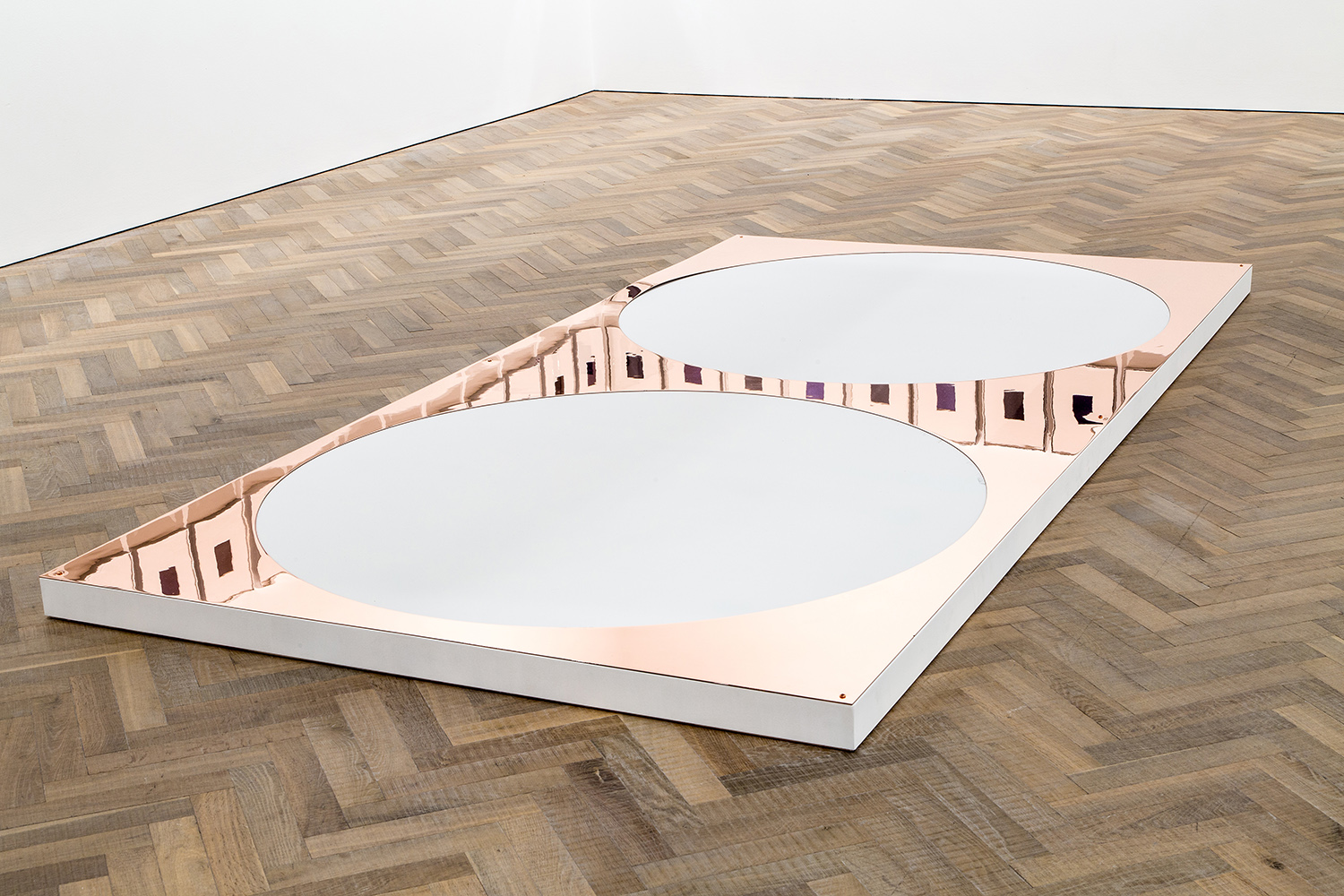 Copper Remnant (Table: designed by unknown, date unknown; Rue de Livourne 35, Brussels, Belgium, September 6, 2011)    2014   Polished copper  120 x 60 inches   Marginalia, 2014