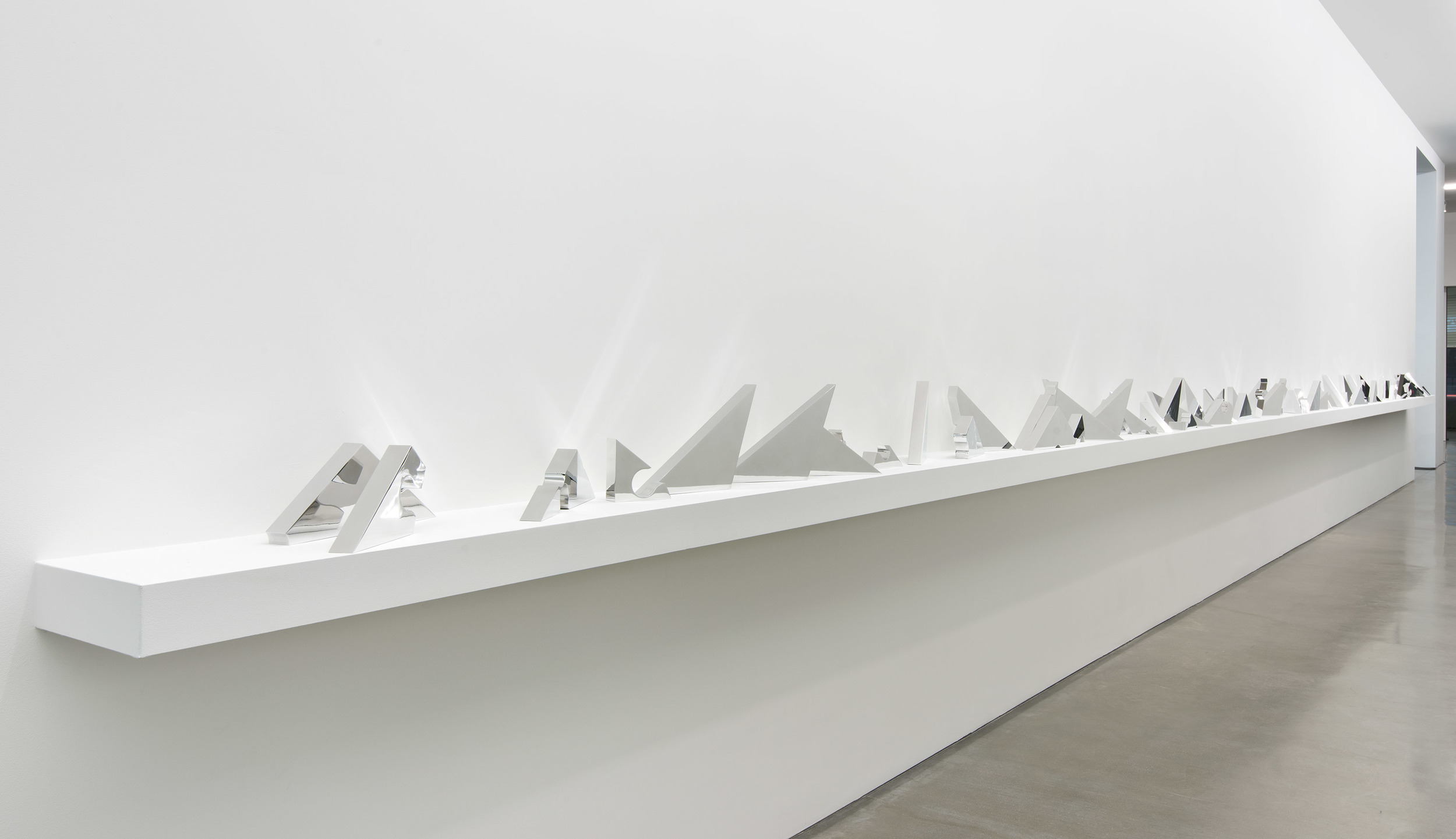 Aluminum Remnants [Copper Surrogate (90˚ Bend, 30˚/60˚, Antidiagonal Bisection:February 21, 2014, Los Angeles,California)]    2014   Polished aluminum  Dimensions variable, 80 parts   Selected Bodies of Work, 2014