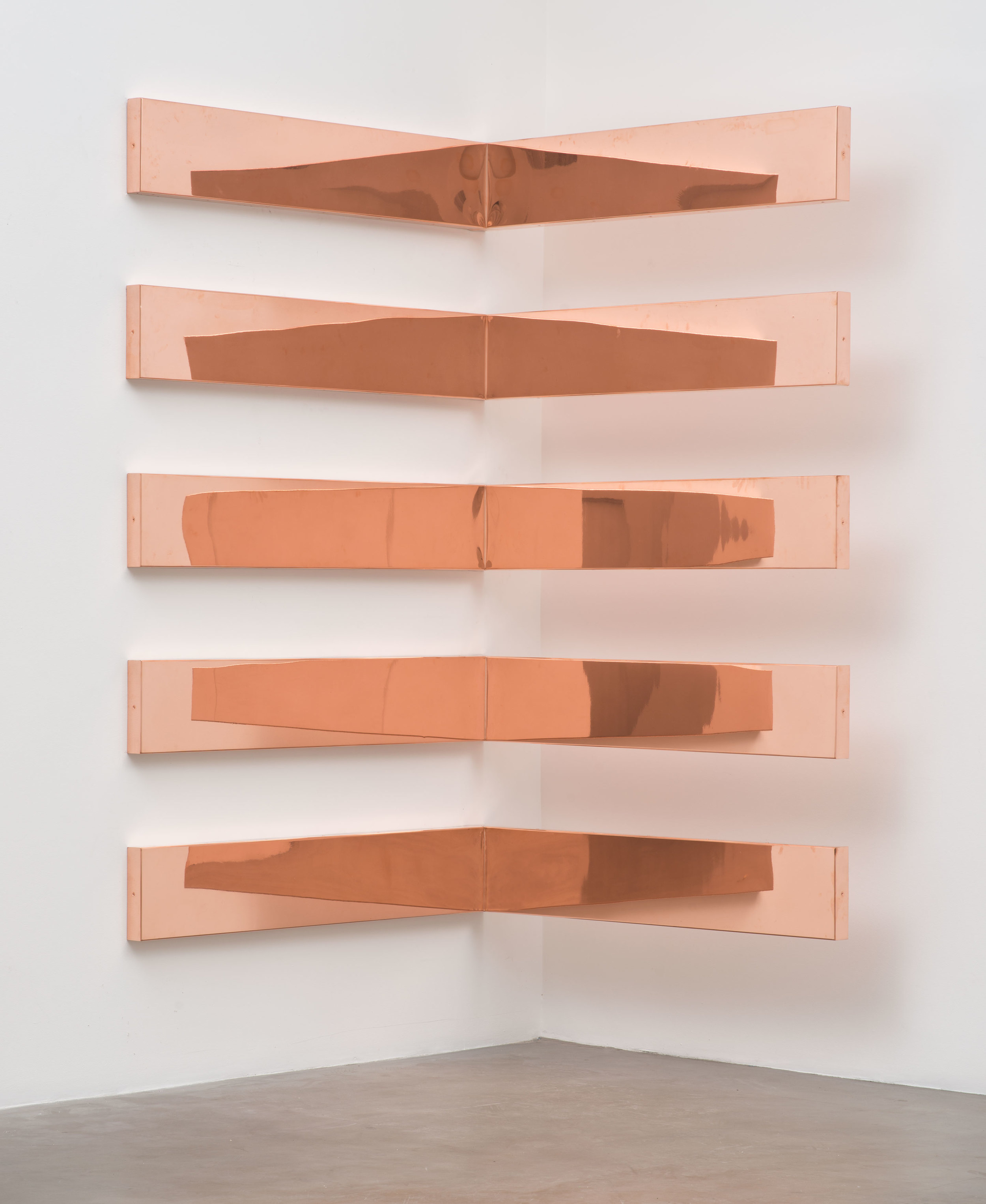 """Copper Surrogate (60"""" x 120"""" 48 ounce C11000 Copper Alloy, 90º Bend, 60""""Bisection/5 Sections: December 4/December 7, 2014, Miami Beach, Florida, February 10–12, 2015, Los Angeles, California)    2014–   Polished copper  11 x 60 x 60 inches each, 5 parts   Walid AlBeshti, 2015"""