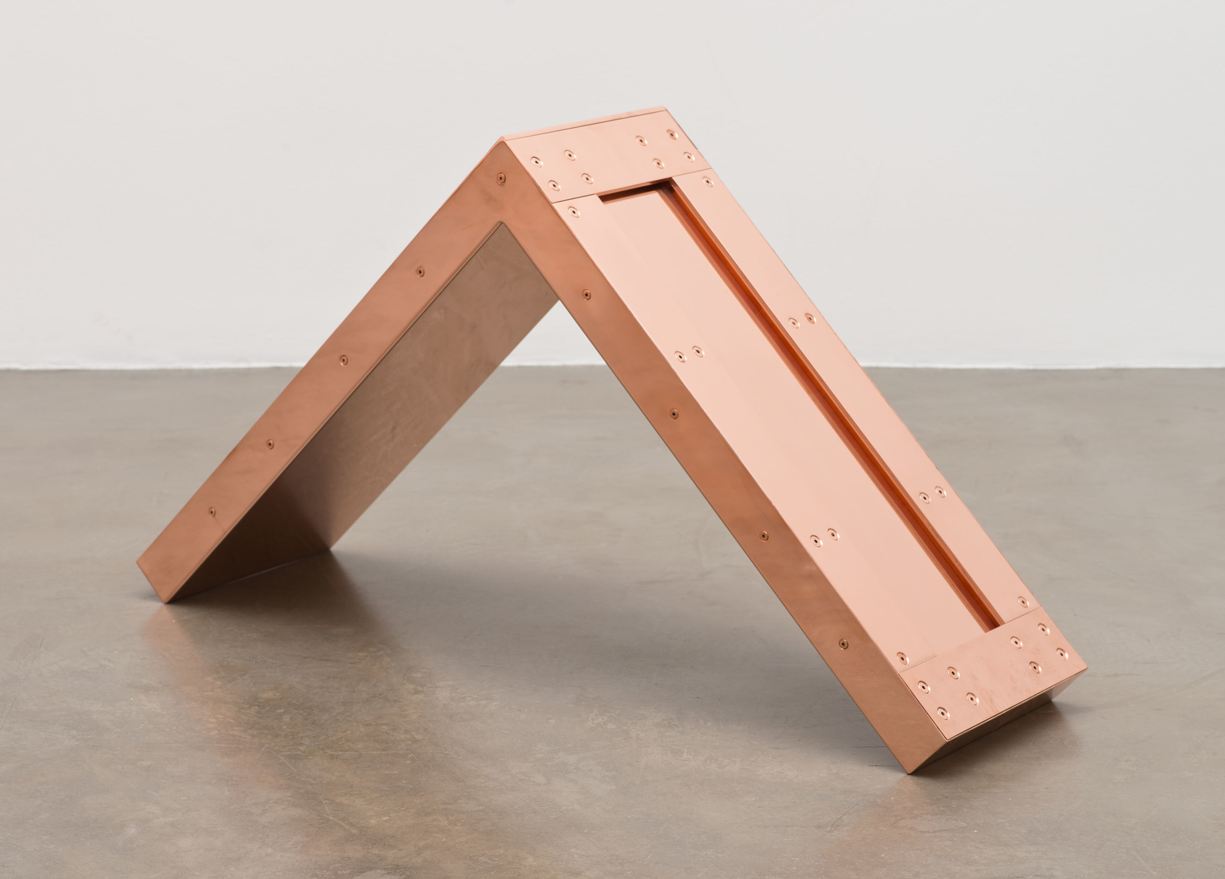 """Copper Surrogate (60"""" x 120"""" 48 ounce C11000 Copper Alloy, 90º Bend, 120""""Bisection, 10 Sections: November 30–December 1/December 7, 2015, Miami Beach, Florida)    2014–   Polished copper  11 1/2 x 30 x 30 inches"""