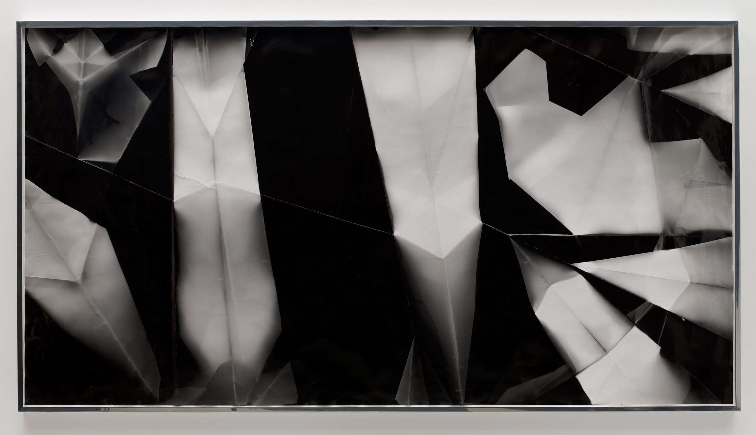 Fold (30º/90º/150º/210º directional light sources), December 31,2012, Los Angeles, California, Ilford Multigrade IV MGF.1K    2012   Black and white fiber based photographic paper  55 x 106 1/2 inches