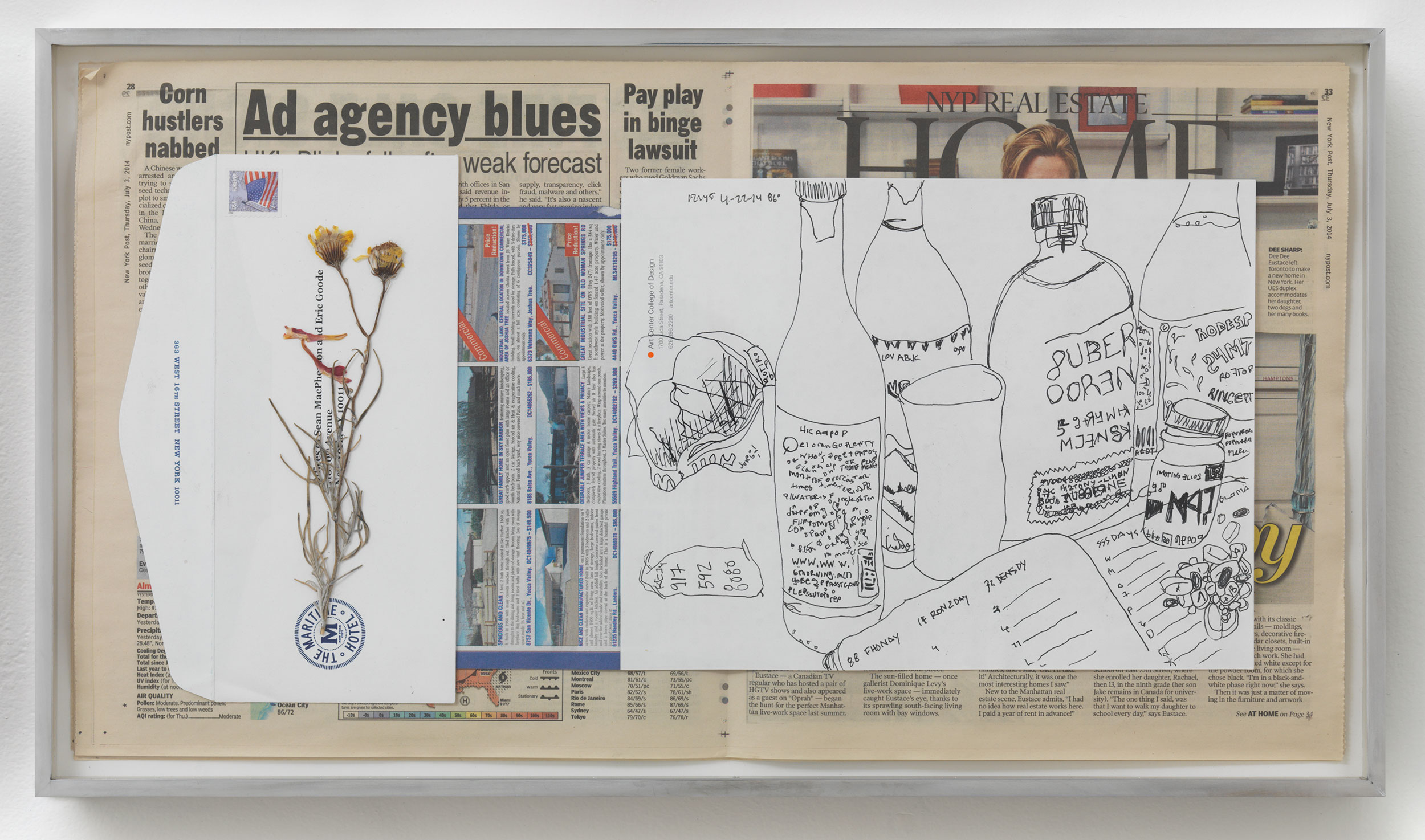 Corn Hustlers Nabbed; Ad Agency Blues: Pay Play in binge lawsuit, 86º, 2:45pm, 22-4-14    2014   Ink on paper, envelope, dried flower, newspaper  12 x 22 inches   Drawings, 2014–