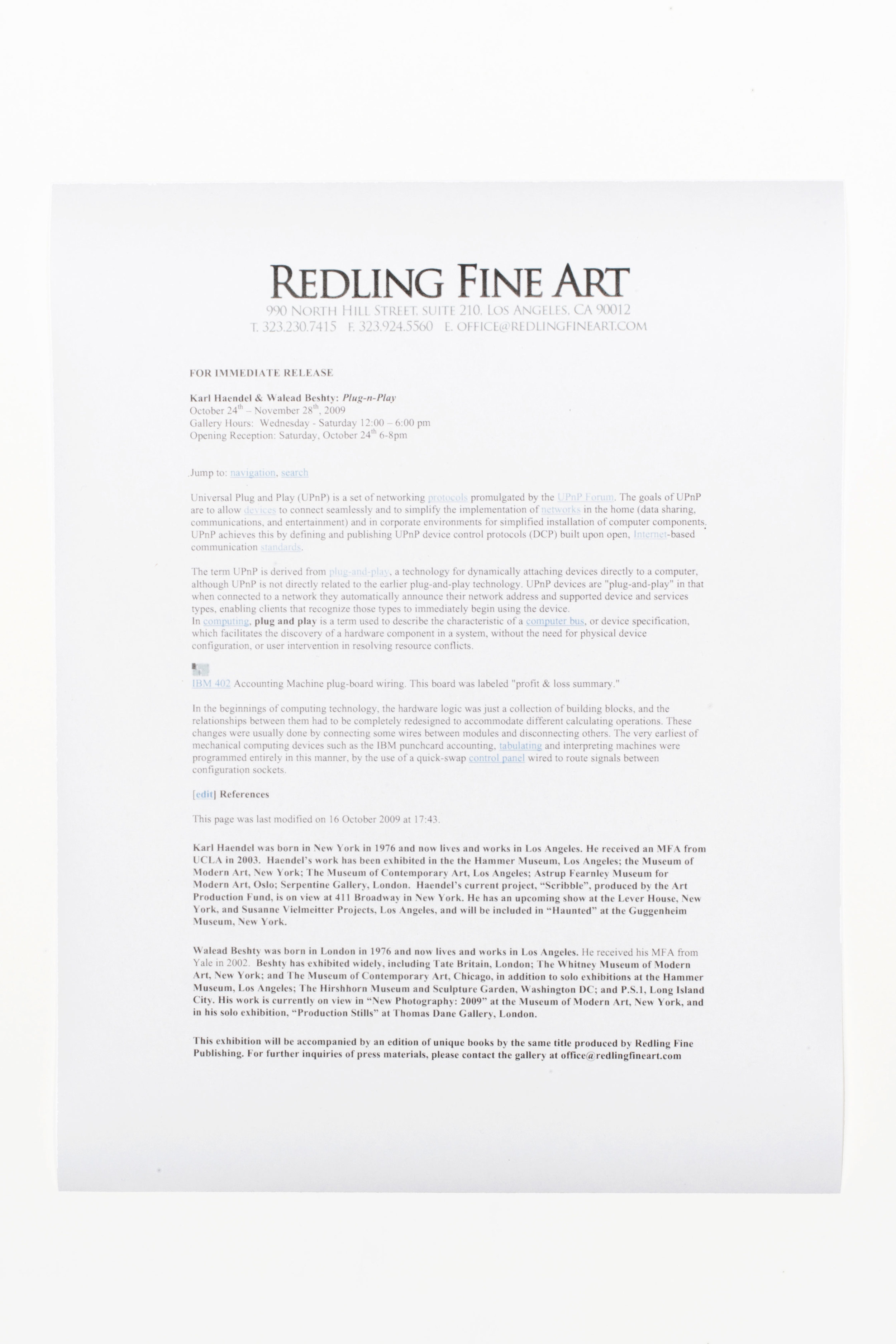 Plug n Play press release   With Karl Haendel  Redling Fine Art  Los Angeles  California  2009