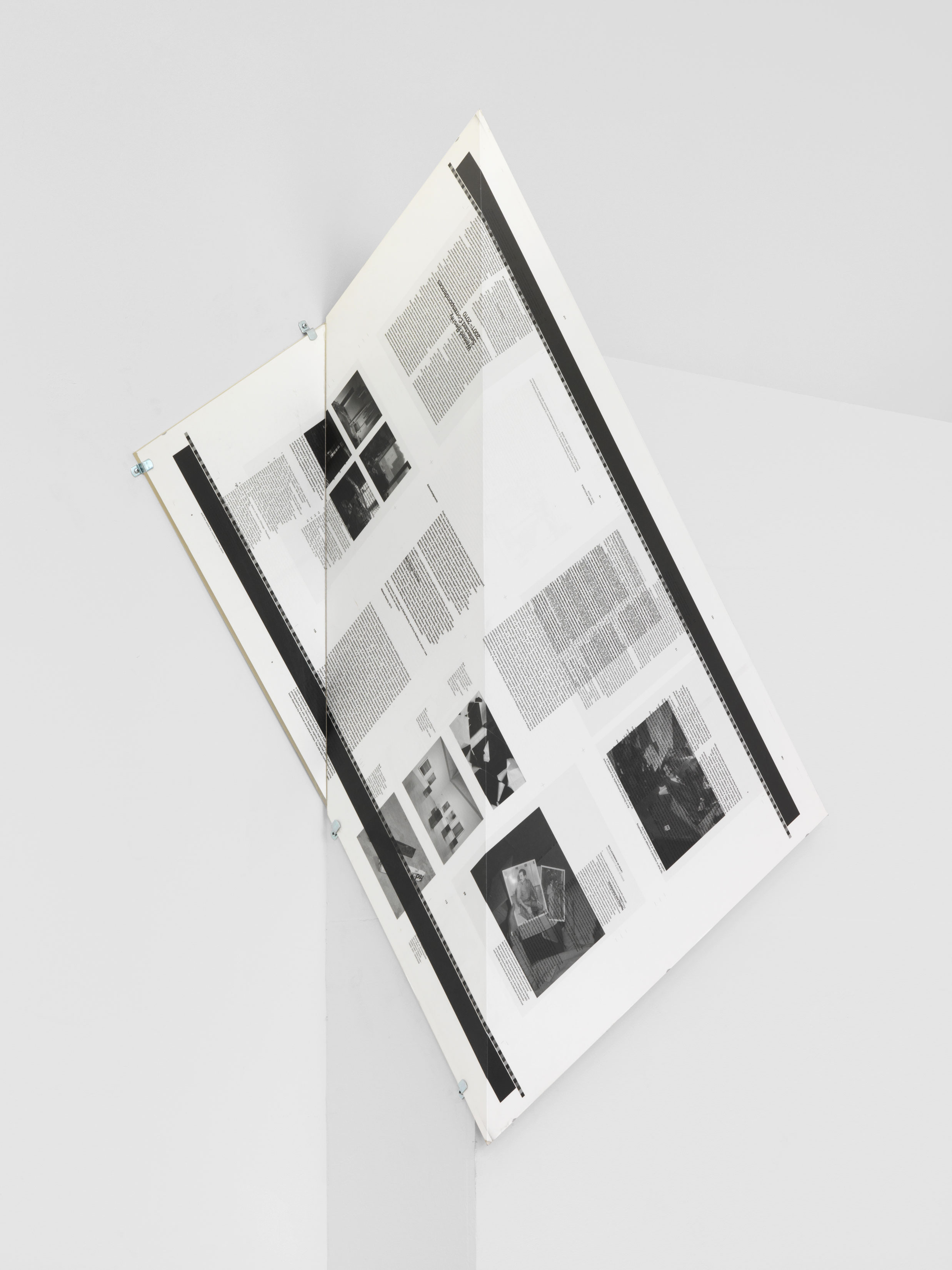 Make-Ready 1: Uncut Signature [Walead Beshty: Selected Correspondences 2001–2010, Bologna: Damiani Editore, 2010, Grafiche Damiani, Bologna, Italy, July 4–6, 2010], 90º Bend, 30º Diagonal / 150º Antidiagonal Bisection and 150º Diagonal / 30º Antidiagonal Bisection    2016   Four-color offset on coated paper, bent plexiglass  28 1/2 x 12 x 40 1/2 inches   Make Readies, 2010–