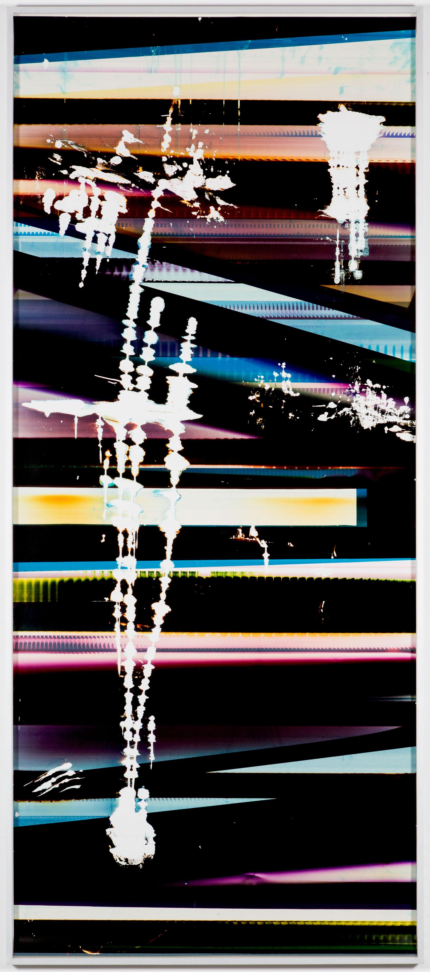 Cross-Contaminated RA4 Contact Print (9:6/CYM/Six Magnet: Los Angeles, California, January 27, 2014, Fuji Color Crystal Archive Super Type C, Em. No. 101-006, Kodak Ektacolor RA Bleach-Fix and Replenisher, Cat. No. 847 1484, 06214), Kreonite KM IV 5225 RA4 Color Processor, Ser. No. 00092174    2016   Color photographic paper  119 3/4 x51 1/2 inches   RA4 Contact Prints, 2014–
