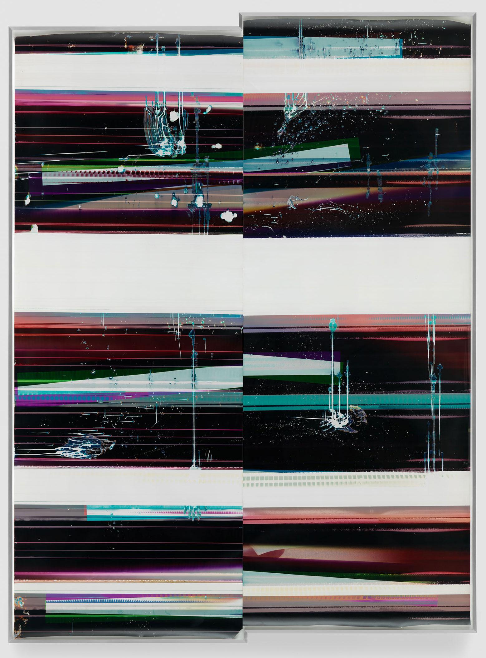 Cross-Contaminated RA4 Contact Print / Processor Stall / Depleted Developer [Black Curl (MYC/Six Magnet/Six Magnet: Los Angeles, California, April 7, 2016,Fujicolor Crystal Archive Super Type C, Em. No. 112-006, Kodak Ektacolor RA Bleach-Fix and Replenisher, 06716), Kreonite KM IV 5225 RA4 Color Processor, Ser. No. 00092174]    2016   Color photographic paper  134 x 100 inches   Automat, 2016