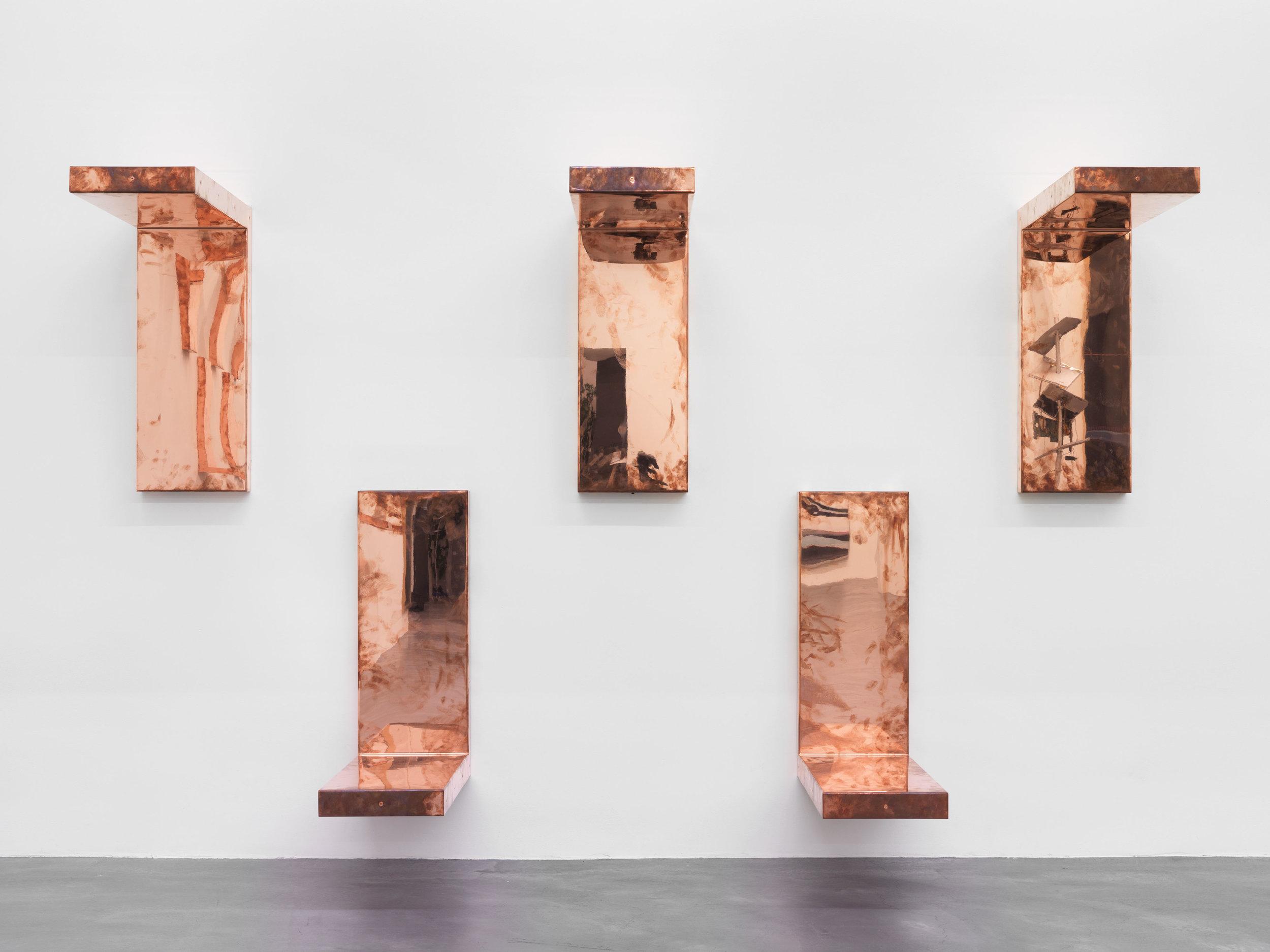 """Detail of Copper Surrogates (60"""" x 120"""" 48 ounce C11000 Copper Alloy, 90º Bend, 120""""Bisection: June 1–8/August 30, 2016, Zürich, Switzerland)    2016–   Polished copper  30 x 11 1/2 x 30 inches, each   Automat, 2016"""