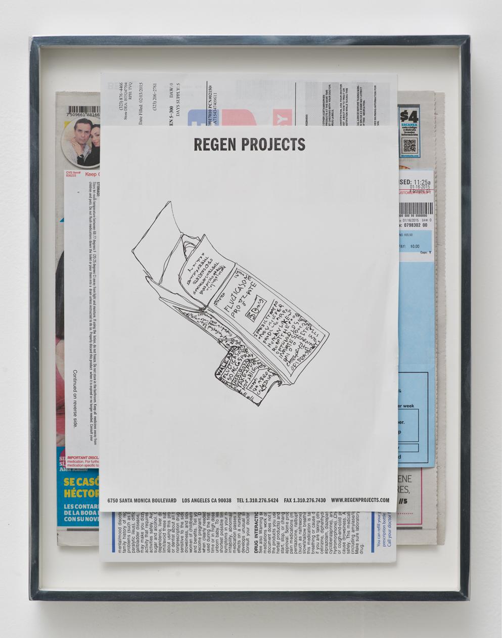 Fluticasone Propionate, 50 mcg, Spray, Boehringer Ingelheim, Roxane Laboratories, Inc.: Regen Projects, Los Angeles, California, Febraury 7, 2015   2015  Ink on letterhead, newspaper, ink on paper  15 x 11 1/2 inches   Drawings, 2014–    Walid AlBeshti, 2015