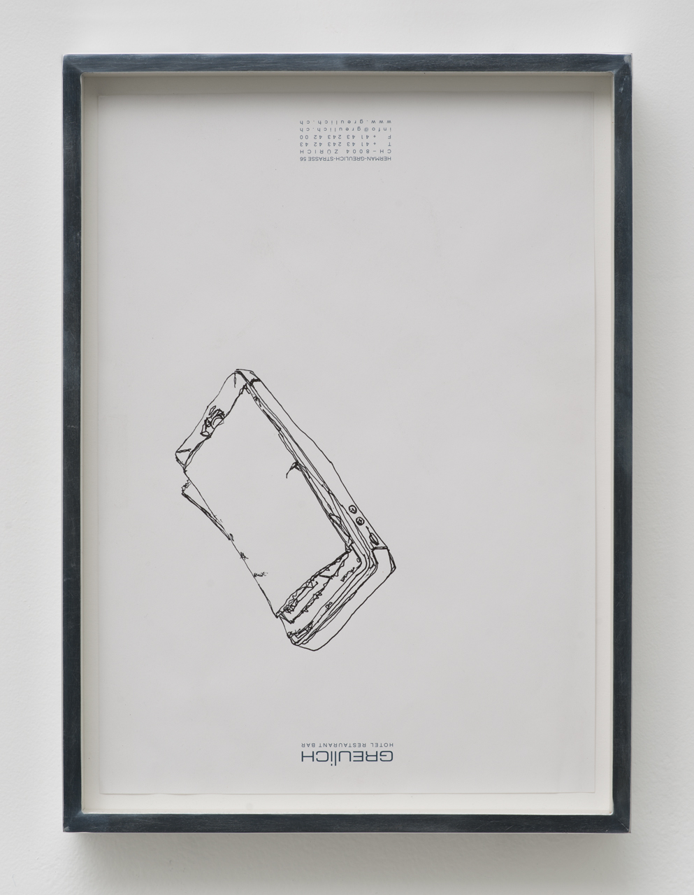 iPhone 5 A1429: Hotel Greulich, Zürich, Switzerland, September 26, 2014   2015  Ink on letterhead  12 7/8 x 9 1/2 inches   Drawings, 2014–    Walid AlBeshti, 2015    Atopolis, 2015