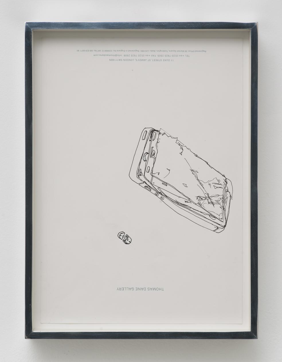 iPhone 5 A1429/Adderall, Amphetamine and Dextroamphetamine 10 mg, cor 132, Round, Multi-Segmented, Core Pharmaceuticals, Inc.: Thomas Dane Gallery, London, United Kingdom, September 27, 2014   2014  Ink on letterhead  12 7/8 x 9 1/2 inches   Drawings, 2014–    Walid AlBeshti, 2015    Atopolis, 2015