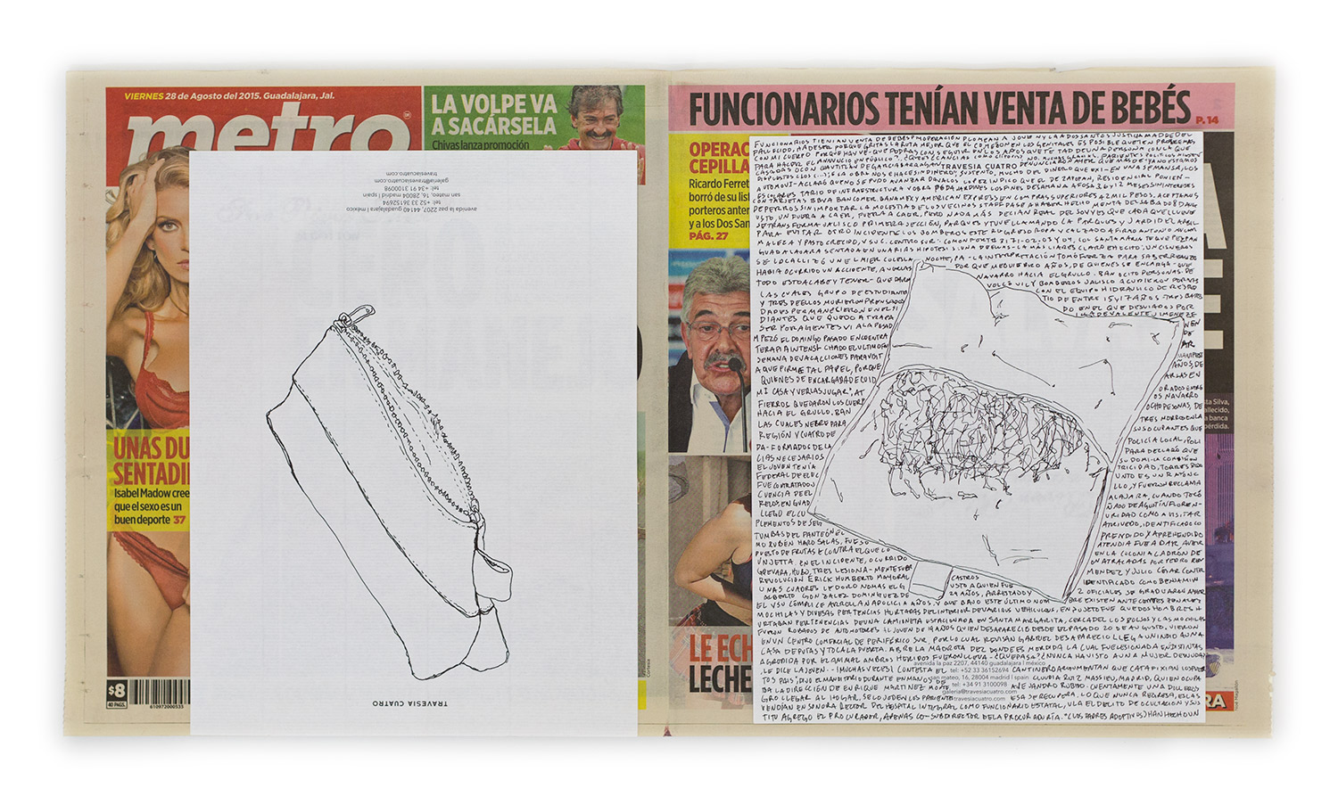 Political Drawing (Metro: Guadalajara, Mexico, Viernes 28 Agosto 2015)   2015  Ink on paper, daily newspaper  12 1/2 x 22 3/4 inches   Drawings, 2014–    Disponibles, 2015