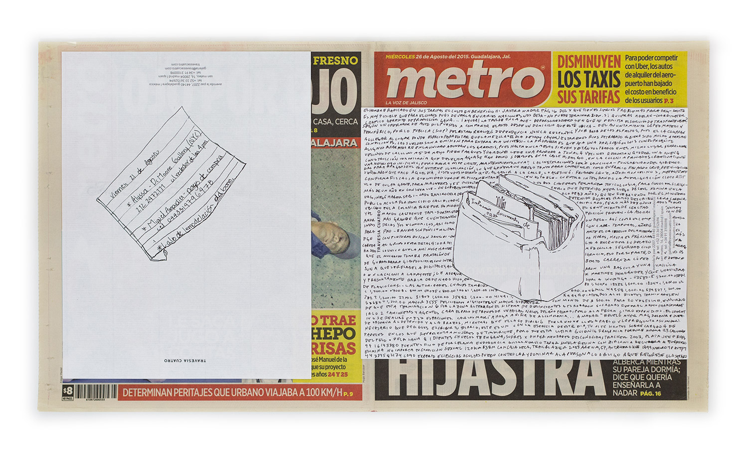 Political Drawing (Metro: Guadalajara, Mexico, Miércoles 26 Agosto 2015)   2015  Ink on paper, daily newspaper  12 1/2 x 22 3/4 inches   Drawings, 2014–    Disponibles, 2015