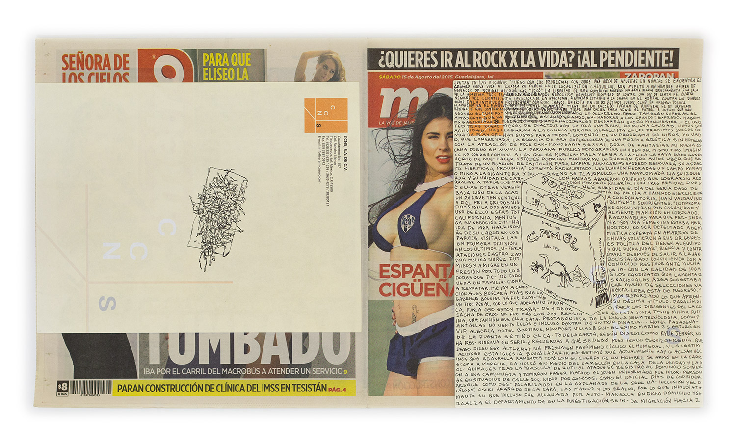 Political Drawing (Metro: Guadalajara, Mexico, Sábado 15 Agosto 2015)   2015  Ink on paper, daily newspaper  12 1/2 x 22 3/4 inches   Drawings, 2014–    Disponibles, 2015